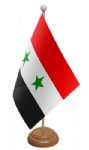 Syria Desk / Table Flag with wooden stand and base
